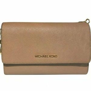 JET SET CROSSBODY WRISTLET CLUTCH TAN KHAKI